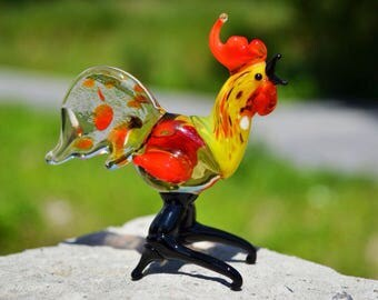 Red Glass rooster figurines New Years 2017 gift animal collectible rooster hen cock in glass gift child girl gift Chinese New Year gift chic