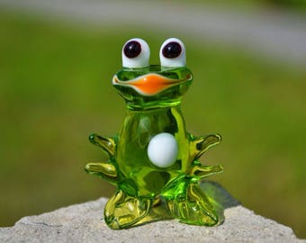 Blown glass frog figurine animals glass clear frog sculpture art glass frogs toy murano animals tiny small green figure glass blowing