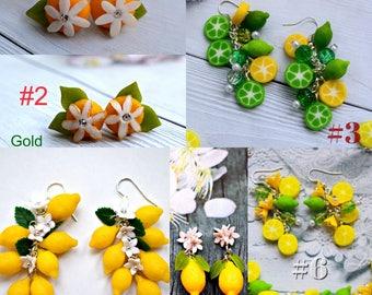 lemon earrings, lime earrings, dangle earrings, chandelier earrings, gift earrings, yellow jewelry, bridesmaid earrings, bridesmaid gift