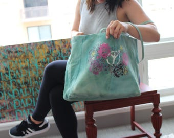 Painted Teal Vintage Bag
