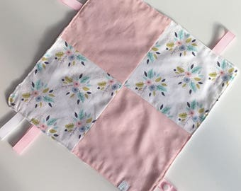 Taggy blanket baby ribbon small patchwork