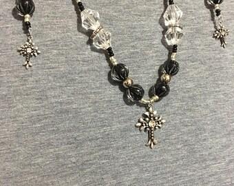 Antique silver cross necklace
