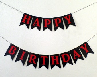 Red and Black Happy Birthday Banner - Man Birthday, Black and Red Theme Banner, Masculine, Feminine, Serious, Adult