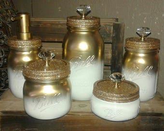 Five piece gold and white mason jar bathroom set. Mason jar decor.