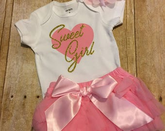 Baby Girl Outfit, New Baby Outfit, Baby Girl Gift, Newborn Girl Tutu, Baby Girl Romper, Baby Girl Coming Home Outfit, Baby Girl Headband