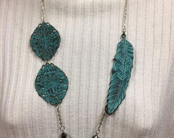 Turquoise necklace, vintage necklace, Patina filigree Pendant, Feather Necklace, Antique Jewelry
