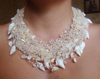 Beige white necklace Shells gemstones necklace Chic necklace Crochet jewelry White pink choker Gift ideas Unique necklace Sea jewelry