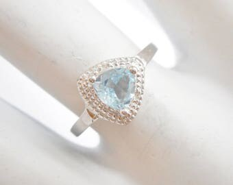 Aquamarine Ring, Sterling Ring, Aquamarine Rings, Aquamarine, Sterling Silver .6 Carat Trillion Cut Aquamarine Ring Sz 6.75 #3197