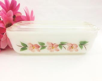 Vintage Fire King Gay Fad Peach Blossoms Rectangular Refrigerator Dish With Lid White With Pink