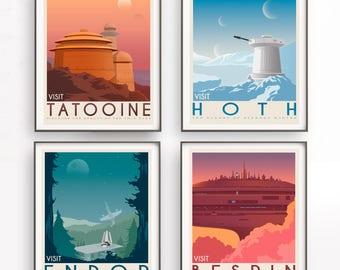Star Wars set of 4 travel poster vintage. Starwars planet illustration. Sci fi vintage print. Luke skywalker. Two mon landscape. Rogue one