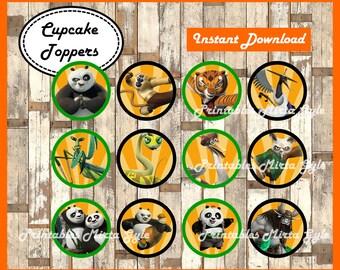 Kung Fu Panda cupcakes toppers, printable Kung Fu Panda party toppers, Kung Fu Panda cupcakes toppers