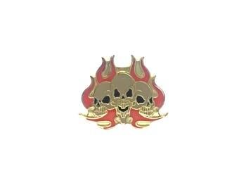 Skull Flame Pin Metal Enamel Vintage