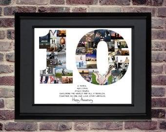 10th Anniversary / Birthday Photo Collage - 10th Birthday Centerpiece - 10th Anniversary Gift - Anniversary Gifts - Custom Photo Collage