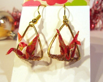 Origami red gold triangle earrings