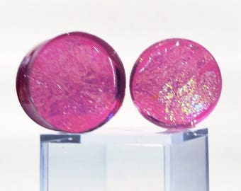 Pink Fuschsia Plugs Angelic Fantasy Dichroic Gauge