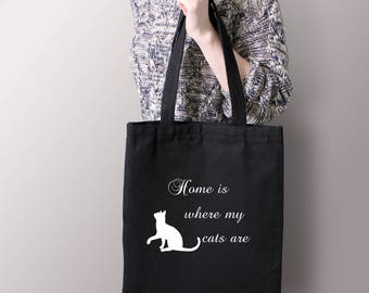 Home Is Where My Cats Are - Crafters - Shoppers - Cat Lovers - Tote Bag - Grocery Bag - 100% Cotton