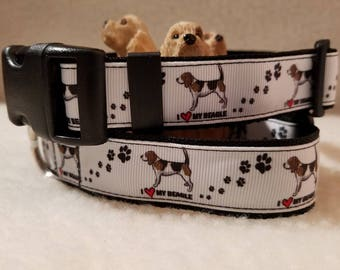I Love My Beagle Handmade Dog Collar 1 Inch Wide Medium Only