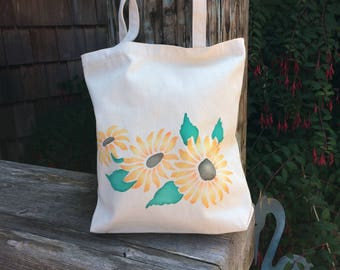 Sunflower market bag, canvas tote, book or project bag. Knitting, school, groceries, shopping, cotton canvas handpainted tote.