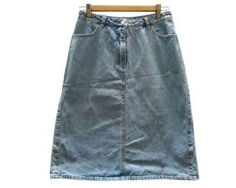Denim skirt//vintage skirt//vintage clothing//vintage//Denim//small size//90s//blue//gift for woman//vintage skirt