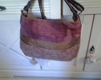 Tote has band with Burgundy faux sequined
