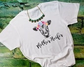 Mother Heifer floral crown cow vintage style triblend short sleeve womens t-shirt, ladies top