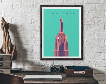 Empire State Building New York Art Deco Architecture Poster Art Print
