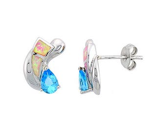Sterling Silver Pink Opal Stud Earrings Blue Topaz