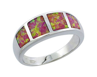 Sterling Silver Pink Opal Statement Ring
