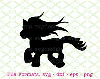 PONY SVG, Dxf, Eps, Png. Files for Cricut, Silhouette; Pony Silhouette, Pony Clipart, Fantasy Pony, Miniature Horse SVG, Kids Pony, Kids Svg