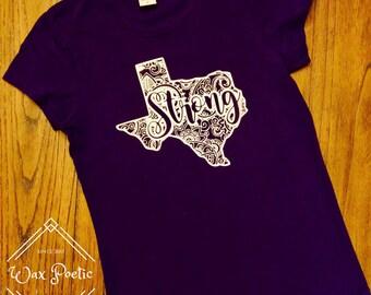 Purple Paisley Texas Strong Shirt l Texas Shirt l Texas Tee l Texas T-Shirt l Texas Strong l Paisley l Hurricane Harvey Fundraiser Shirt