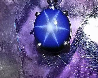 Star sapphire necklace, Sterling silver, blue sapphire pendant. Huge 9.4ct blue star sapphire. Genuine blue sapphire with bright 6 ray star.