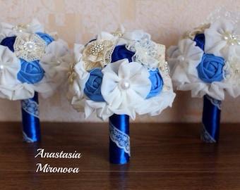 Blue  Bridesmaids Bouquets, Brooch Bouquets, Fabric wedding bouquet, Alternative bouquets, Rustic bouquets, Blue Wedding,