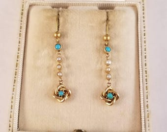 15k yellow gold turquoise and split pearl earrings