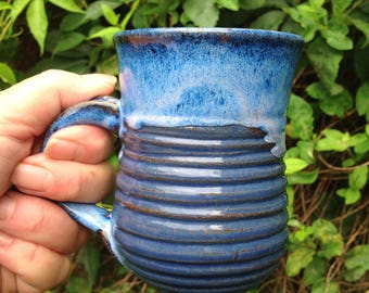 Bright Blue Ceramic Mug 10 ounce, Wheel thrown and altered.