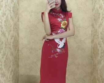 Crane Qipao Embroidered Mandarin Dress (Red, Yellow or Black)