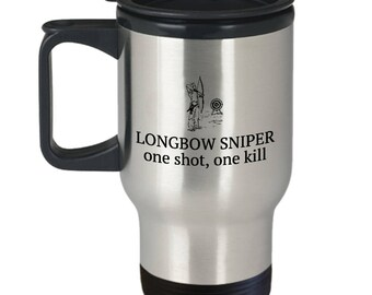 Archery Gift - Archer Travel Mug - Longbow Sniper
