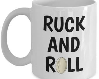 Rugby Coffee Mug - Rugby Player Gift Idea - Present For Rugby Fan - Ruck And Roll