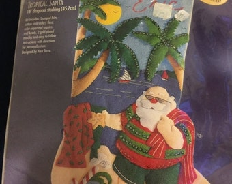 SPRINGSALE Bucilla Felt Applique Tropical Santa Christmas stocking, out of production, hard to find