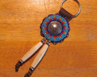 Native American Beaded Rosette Keychain Beaded Keychain Beaded Keyring Genuine Buffalo Nickel