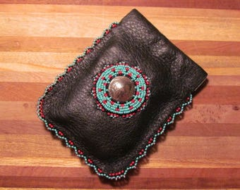 Native American Beaded Deer Hide Coin Pouch Beaded Leather Coin Pouch Beaded Coin Pouch Beaded Coin Purse Beaded Change Purse