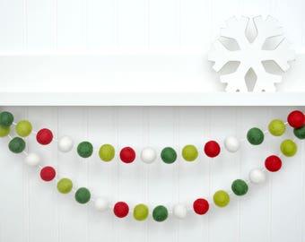 Christmas Garland, Christmas Banner, Christmas Bunting, Holiday Decor, Christmas Decor, Red and Green Felt Ball Garland, Tree Decoration Pom