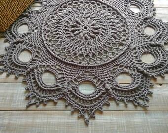 Doily crochet rug Cotton giant doily Crochet carpet Doily carpet Rug 26 inch Crochet lace rug Circle crochet rug Crochet doily rug