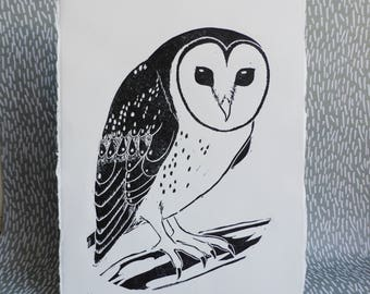 Masked Owl / Australian Owl  / Australian/ Original Artwork / Lino cut / Block Print / Black and White / Australian Bird