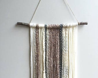 Yarn Wall Hanging. Boho decor. Yarn Tapestry.