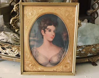 Vintage mini framed portrait of Victorian woman