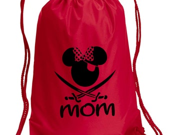 MOM Pirate Drawstring Bag, With Personalized name, Disney Bag, Minnie  Bag, Vacation bag, Family bags, Mickey Drawstring Bag