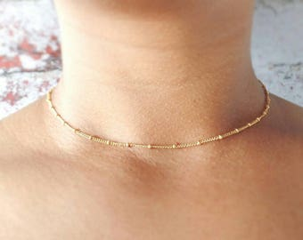 Gold Choker Necklace - Satellite Choker - Gold Filled - Gold Chain - Gold Choker - Dainty Necklace - Layering Necklace - Gift for Her