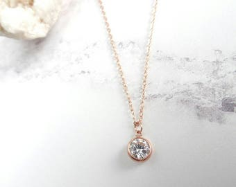 Rose gold necklace etsy aloadofball Choice Image