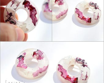 Resin stud earrings - cherry blossom