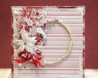 Shabby chic Christmas card with handmade poinsettias and wreath